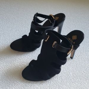Isola black open toe heels